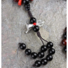 Black & Red Striped Tibetan Agate DZI Mala Prayer Beads