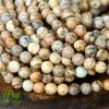 Smooth Round Picture Jasper Beads • Natural Crystal Picture Jasper Gemstones • Tan Picture Jasper Wholesale Sizes • 4mm 10mm • 15.5'' Strand