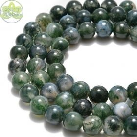 Smooth Round Moss Green Marbled Agate • Natural Crystal Gemstone Beads • Variety of Wholesale Sizes • 4mm 6mm 8mm 10mm • 15.5'' Strands