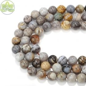 Smooth Round Marble Gray Bamboo Leaf Agate • Natural Crystal Gemstone Beads • Variety of Wholesale Sizes • 6mm 8mm 10mm • 15.5'' Strands