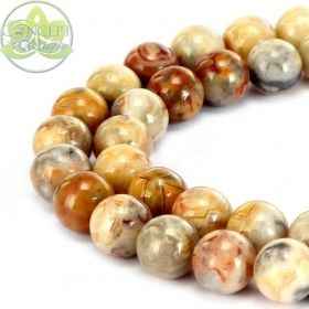 Smooth Round Crazy Agate • Natural Crystal Gemstone Beads • Variety of Wholesale Sizes • 4mm 6mm 8mm 10mm 12mm • 15.5'' Strands