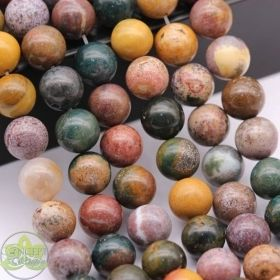 Smooth Round Ocean Agate • Natural Crystal Gemstone Beads • Variety of Wholesale Sizes • 4mm 6mm 8mm 10mm 12mm • 15.5'' Strands