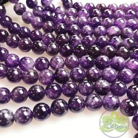 Smooth Round Amethyst Beads • Natural Crystal Gemstone Beads • Dark Purple Variety of Wholesale Sizes • 6mm 8mm 10mm • 15.5'' Bead Strands