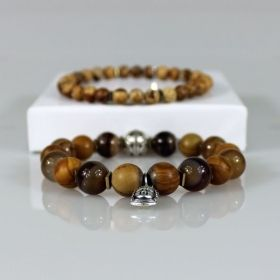 Rustic Camel Tan Buddha Charm Stackable Bead Bracelet Set