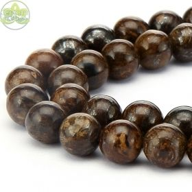Smooth Round Bronzite Beads • Natural Bronzite Crystal Gemstone Beads • AAA Bronzite Wholesale Sizes • 6mm 8mm 10mm 12mm • 15.5'' Strands