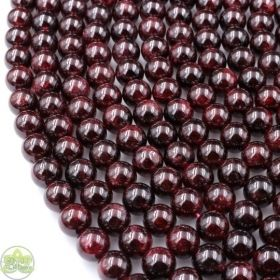 Smooth Round Garnet Beads • Natural Crystal Garnet Gemstone Beads • Red Garnet Wholesale Sizes • 4mm 6mm 8mm 10mm 12mm • 15.5'' Strands