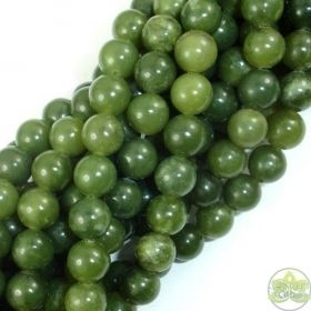 Smooth Round Canadian Jade Beads • Natural Crystal Gemstones • Olive Green Jade Wholesale Bead Sizes • 6mm 8mm 10mm 12mm • 15.5'' Strands