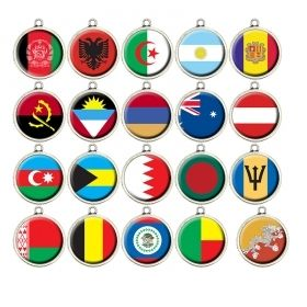 National Flags Cabochon Charms • Country Football/Soccer Team Pendant • World State Countries • Military Veterans • Vacation Travelers • A-G