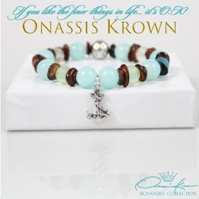 Turquoise Nautical Bead Bracelet • Aquamarine Brown Sea Shell Bracelet • Silver Anchor Charm Jewelry • Onassis Krown Signature Collection