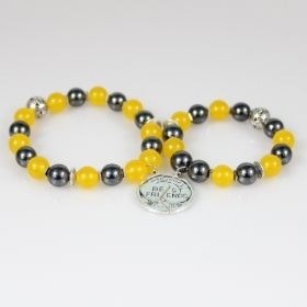 Best Friends Bead Bracelets • Matching Friendship Bracelet Jewelry Set • Yellow Gemstones Gray Hematite • Onassis Krown Signature Collection