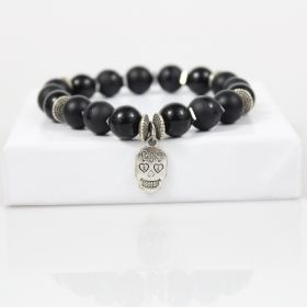 Biker Bead Bracelet • Black Hells Angels Bracelet • Silver Skull Head Charm • Motorcycle Jewelry • Onassis Krown Signature Collection