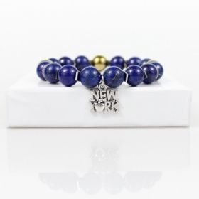 New York City Bead Bracelet • Big Apple Bracelet • Lapis Lazuli Bracelet • NY Stretch Bracelet Jewelry • Onassis Krown Signature Collection