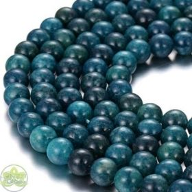 Dark Blue Apatite Beads Smooth Round • Natural Crystal Gemstones • Wholesale Apatite Beads • Sizes 4mm 6mm 8mm 10mm 12mm • 15.5'' Strands