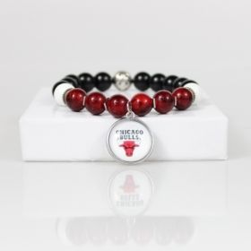 Chicago Bulls Bead Bracelet • Bulls Charm Bracelet Jewelry Gift • Chicago IL Basketball Bracelet • Onassis Krown Signature Collection