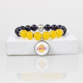 Los Angeles Lakers Bead Bracelet • Lakers Charm Bracelet Jewelry • Los Angeles CA Basketball Bracelet • Onassis Krown Signature Collection