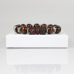 Wood Bead Bracelet • Brown Tiger Eye Bracelet • Boho Bracelet • Tibetan Bracelet • Yoga Bracelet • Onassis Krown Signature Collection
