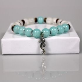 Aquamarine Bead Bracelet • Turquoise & Seashell Bracelet • Nautical Bracelet • Silver Seahorse Charm • Onassis Krown Signature Collection