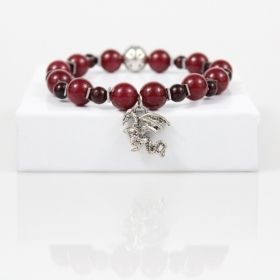 Red Dragon Charm Bracelet • Dark Red Jade Bead Bracelet • Crimson Bracelet • Ruby Crystal Bracelet • Onassis Krown Signature Collection