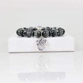 Dragon Charm Bead Bracelet • Eagle Eye Bracelet • Dark Gray Gothic Bracelet • Silver Hematite Bracelet • Onassis Krown Signature Collection