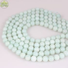 Chinese Amazonite Beads Smooth Round • Natural Crystal Gemstones • Pale Muted Blue Amazonite • Sizes 4mm 6mm 8mm 10mm 12mm • 15.5'' Strands