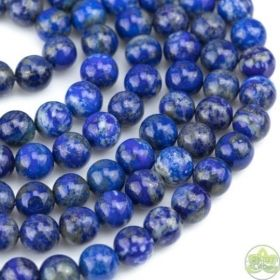 Lapis Lazuli Beads Smooth Round • Natural Undyed Crystal Gemstones • Wholesale Blue Lapis • Sizes 4mm 6mm 8mm 10mm 12mm • 15.5'' Strands