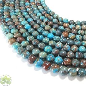 Blue Calsilica Jasper Beads Smooth Round • Natural Crystal Gemstones • Wholesale Jasper Beads • Sizes 4mm 6mm 8mm 10mm 12mm • 15.5'' Strands