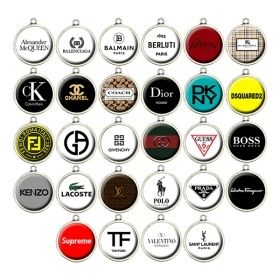 Fashion Designer Charms • Luxury Brand Cabochon Charms, Exclusive Jewelry Charms • Balenciaga • Burberry • Calvin Klein • Chanel • Coach