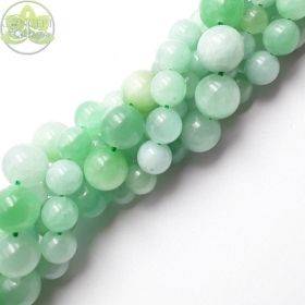 Light Green Jade Beads Smooth Round • Natural Jade Crystal Gemstones • Wholesale Teal Jade • Sizes 4mm 6mm 8mm 10mm 12mm • 15.5'' Strands