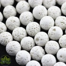 White Lava Beads Round • Natural Ancient Cooled Volcanic Rock Stones • Wholesale Ivory Lava Beads • Sizes 4mm 6mm 8mm 10mm • 15.5'' Strands