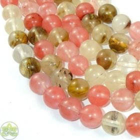 Fire Cherry Quartz Beads Smooth Round • Natural Crystal Gemstones • Fire Watermelon Quartz • Sizes 4mm 6mm 8mm 10mm 12mm • 15.5'' Strands