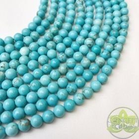 Turquoise Beads Smooth Round • Natural Crystal Gemstones • Blue Turquoise Wholesale Beads • Sizes 4mm 6mm 8mm 10mm 12mm • 15.5'' Strands