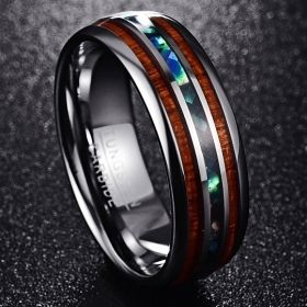 Abalone & Hawaiian Koa Wood Ring