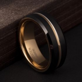 Black & 24k Old Gold Plated Center Groove Ring