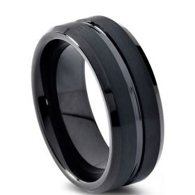 Black Ebony Groove Tungsten Carbide Ring