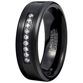 Black Ebony Nine Cubic Zirconia Ring