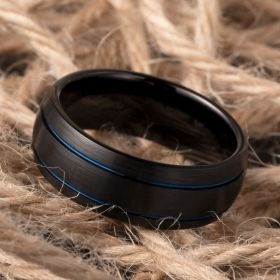 Black Matte Double Blue Groove Brushed Tungsten Carbide Ring