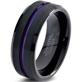 Black Onyx & Purple Groove Ring