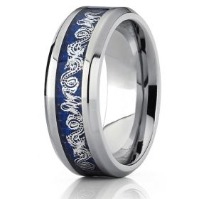 Dark Blue & Silver Infinity Dragon Celtic Knot Ring