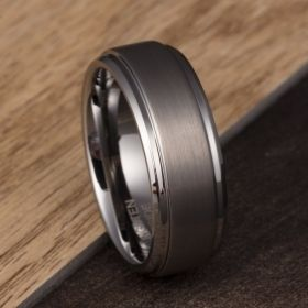 Classic Dark Gray & Silver Tungsten Ring
