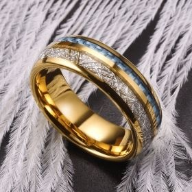 Gold Plated Light Blue Fiber Inlay Silver Meteorite Ring