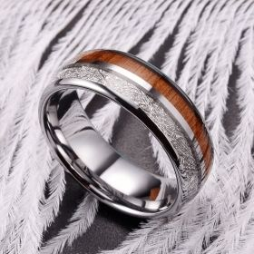 Koa Wood Silver Meteorite Tungsten Carbide Ring