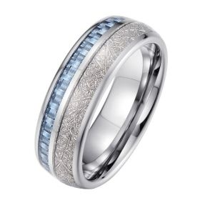 Light Blue Gray Meteorite Tungsten Ring