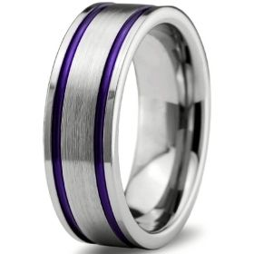 Purple Double Groove & Silver Tungsten Ring