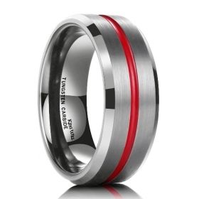 Red Striped Silver Tungsten Carbide Ring