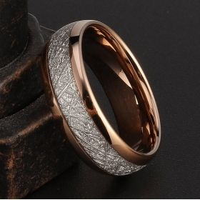 Rose Gold & Silver Meteorite Inlay Ring