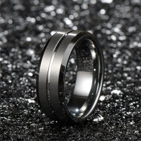 Silver Brushed Matte Center Grooved Ring
