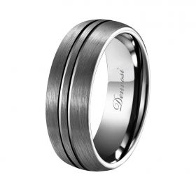 Silver Gray Matte Double Groove Ring