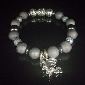 All Gray Silver Hematite Dragon Beaded Bracelet