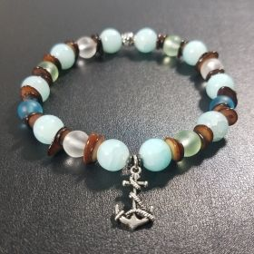 Beach Turquoise Nautical Beaded Bracelet with Anchor Pendant
