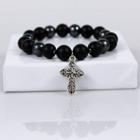 Black Matte & Hematite Beaded Bracelet with Cross